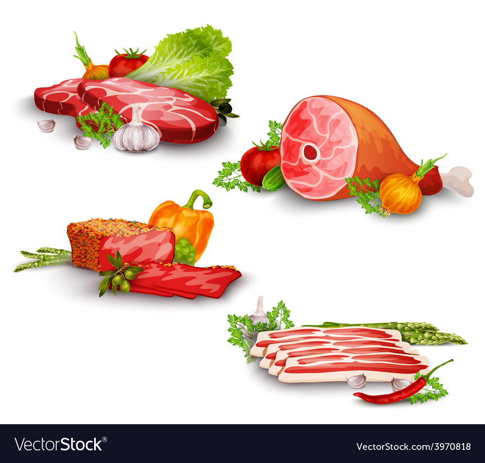 Meat with vegetables set vector