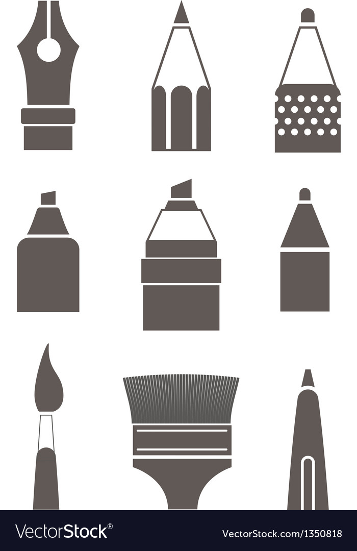 Paint and writing tools silhouettes collection iso vector | Price: 1 Credit (USD $1)