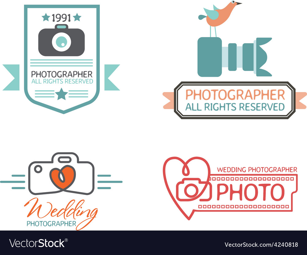 Photography badges and labels in vintage style vector | Price: 1 Credit (USD $1)