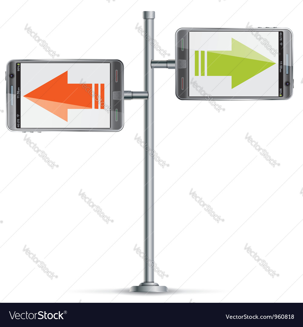 Pole with smartphone vector | Price: 1 Credit (USD $1)