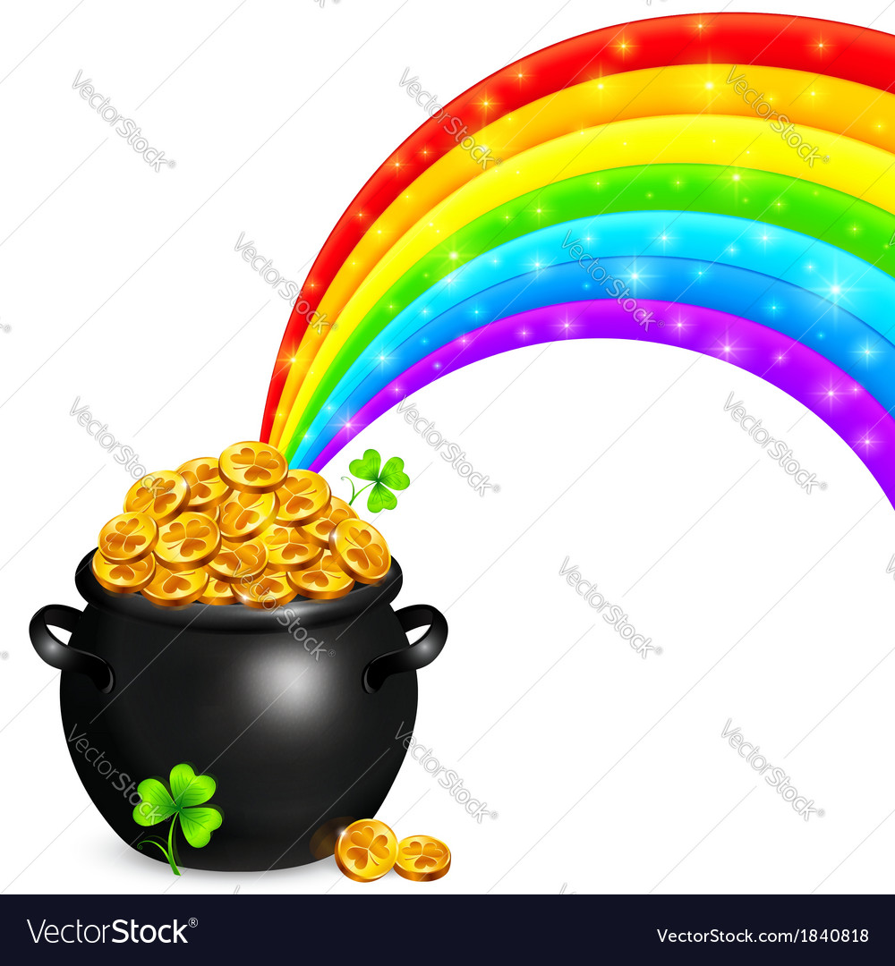 Pot of gold with magic rainbow vector | Price: 1 Credit (USD $1)