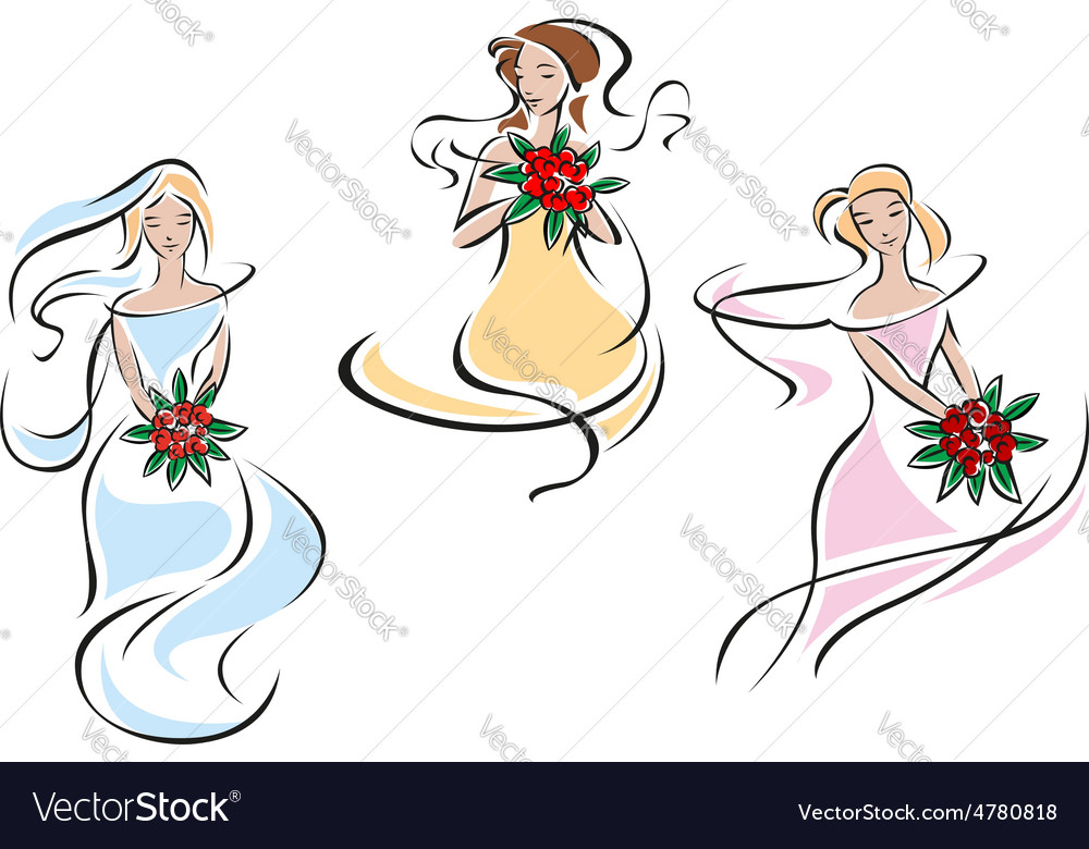 Romantic brides in colorful wedding dresses vector | Price: 1 Credit (USD $1)