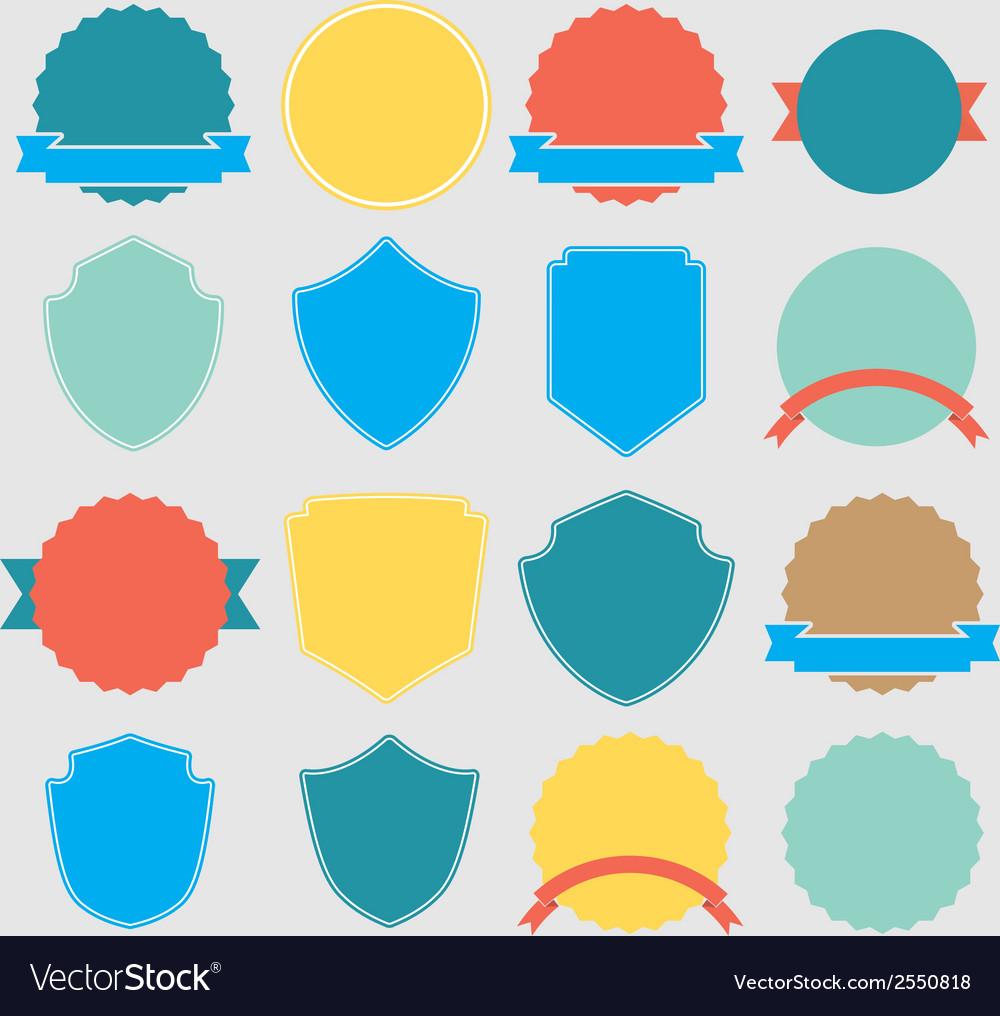 Set of color shield retro vintage badges and label vector   Price: 1 Credit (USD $1)