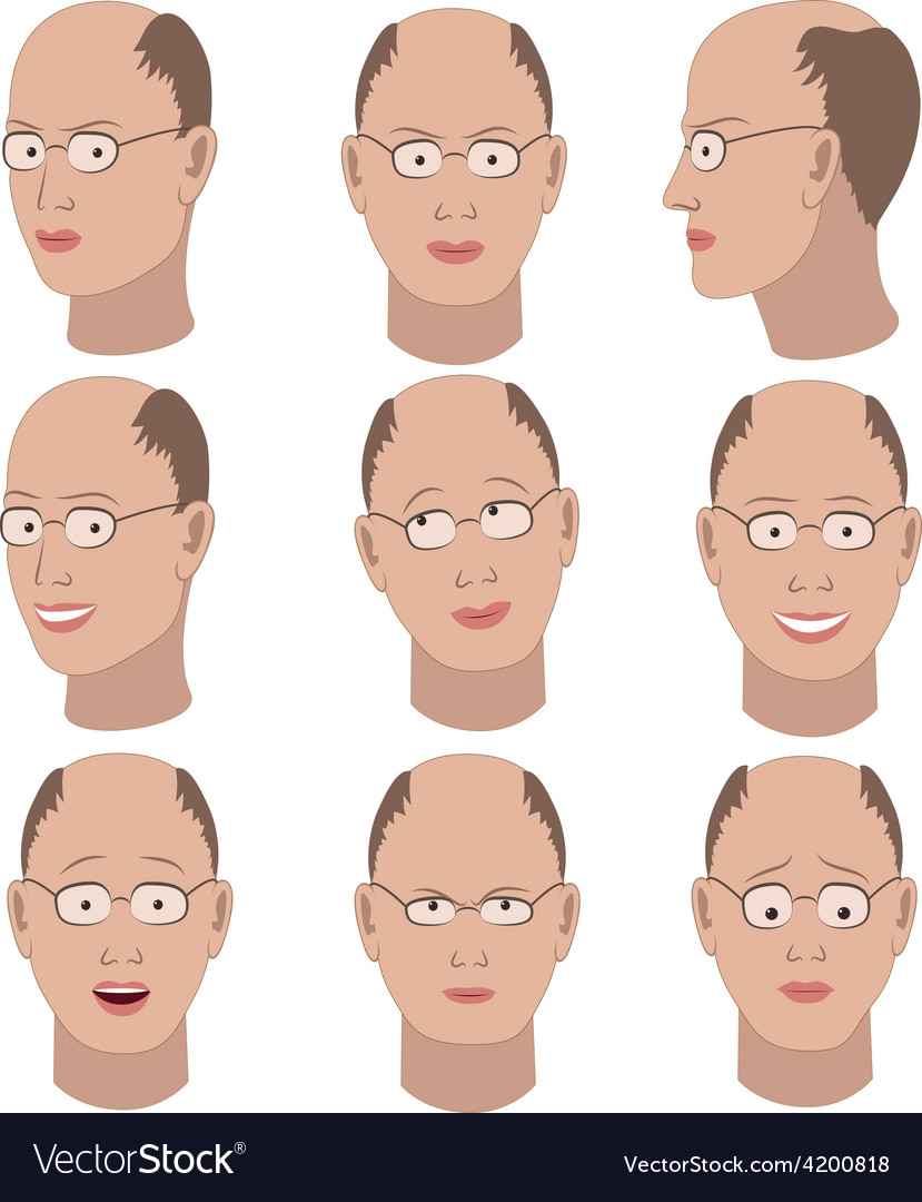 Set of variation of emotions of the same bald man vector | Price: 1 Credit (USD $1)