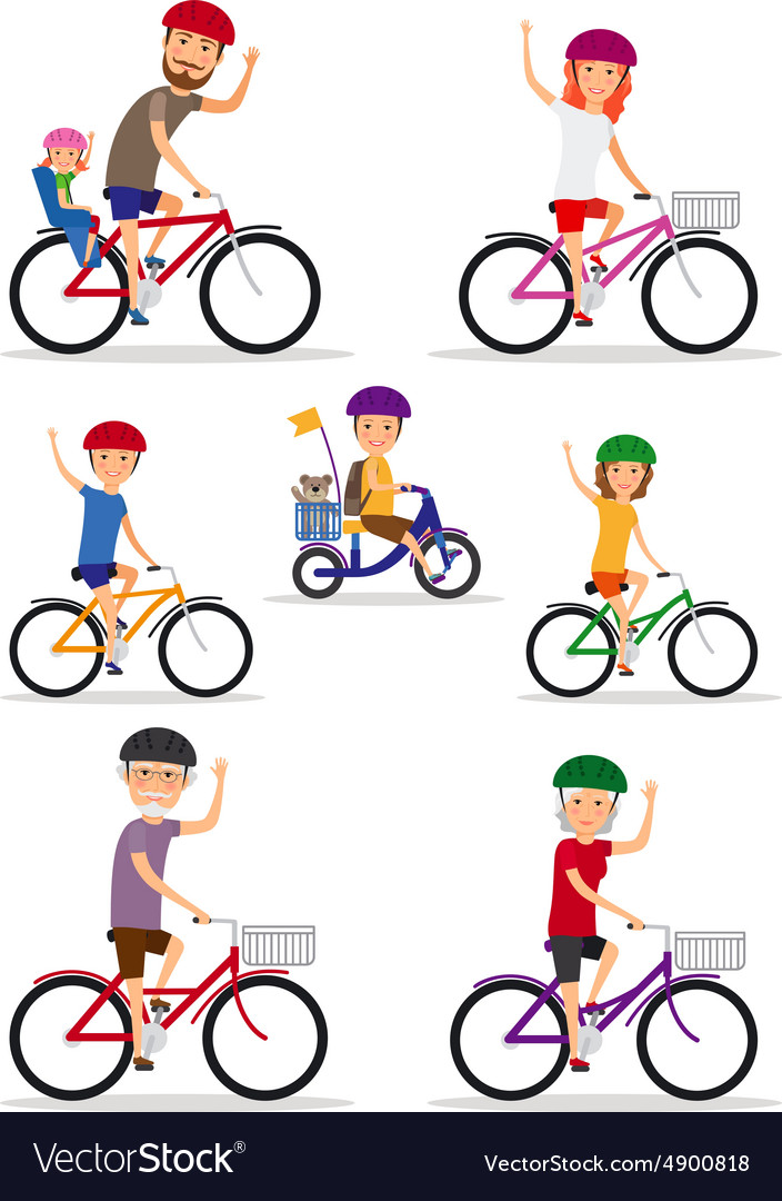 Sports family mom dad and kids ride bikes vector