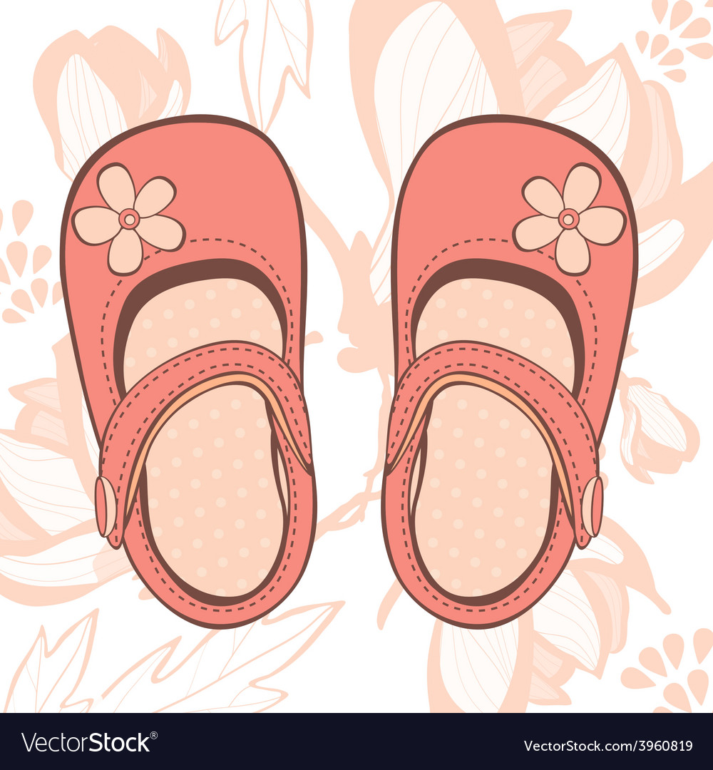 Beautiful baby girl shoes vector | Price: 1 Credit (USD $1)