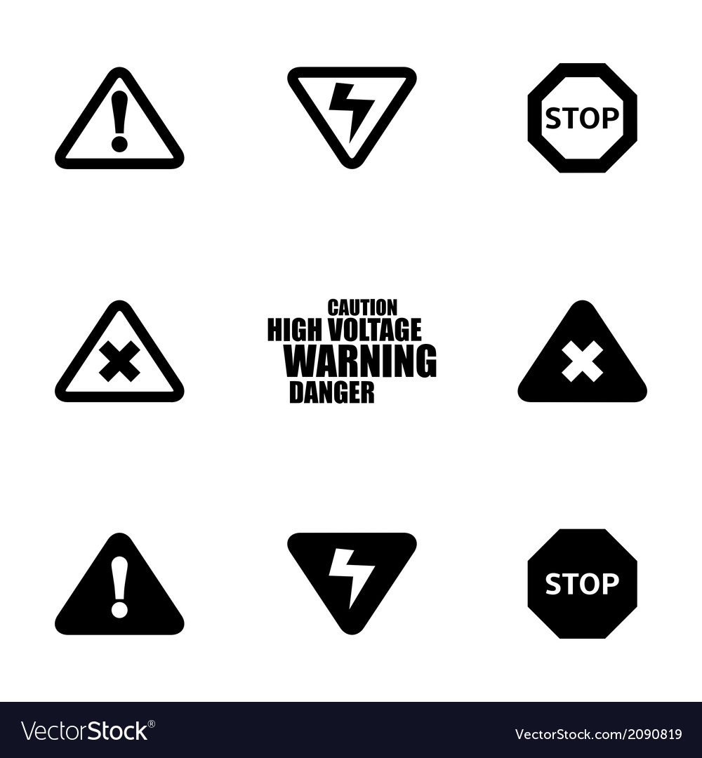Black danger icons set vector | Price: 1 Credit (USD $1)