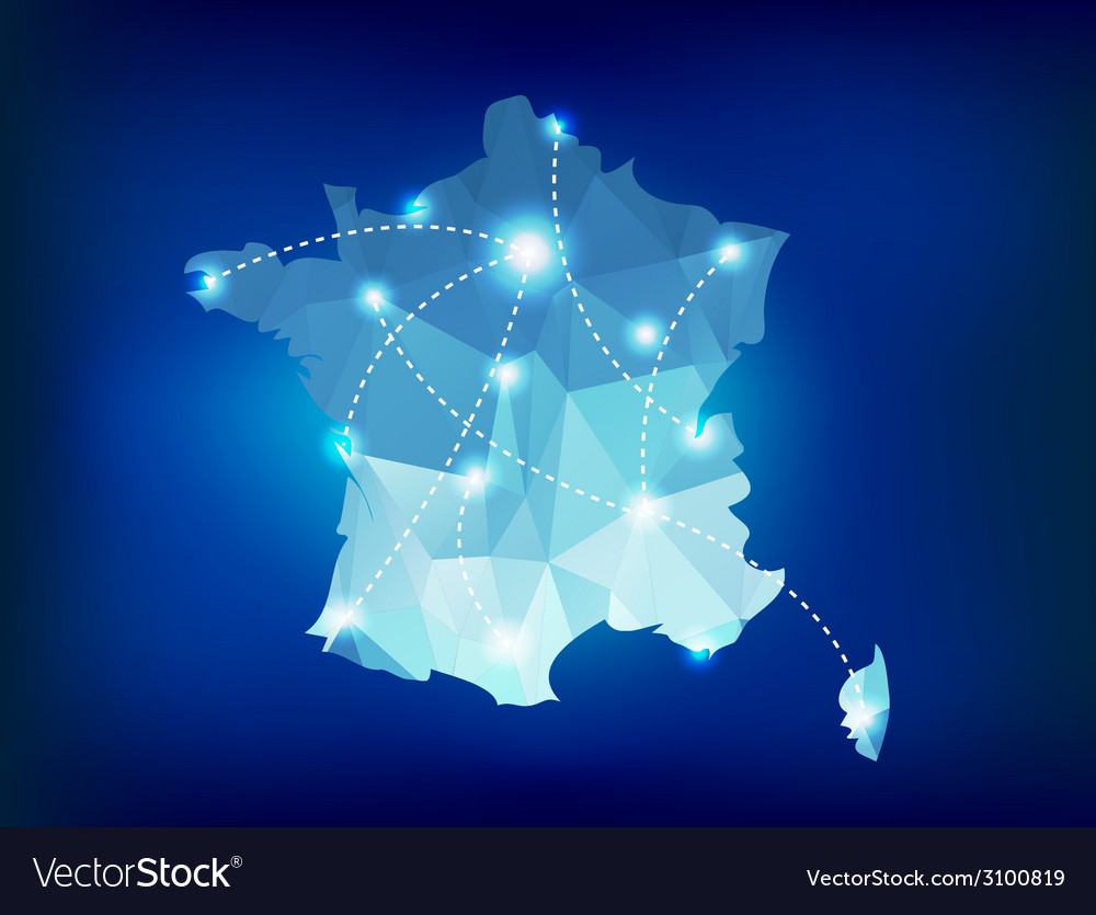 France country map polygonal with spot lights vector | Price: 1 Credit (USD $1)
