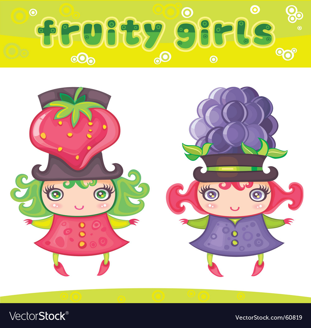 Fruity girls series 6 strawberry blackberry vector | Price: 3 Credit (USD $3)