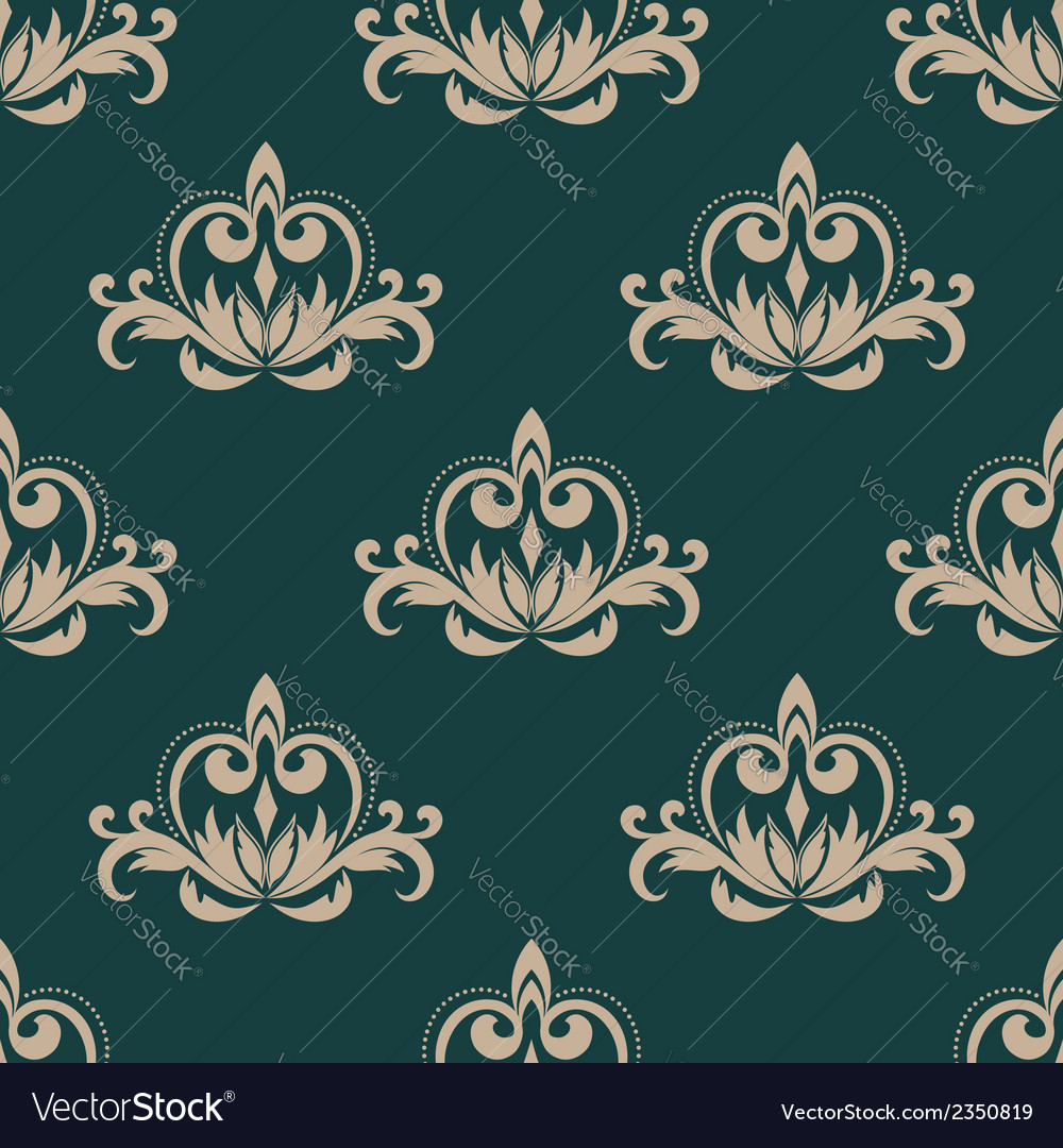Green and beige seamless damask pattern vector | Price: 1 Credit (USD $1)
