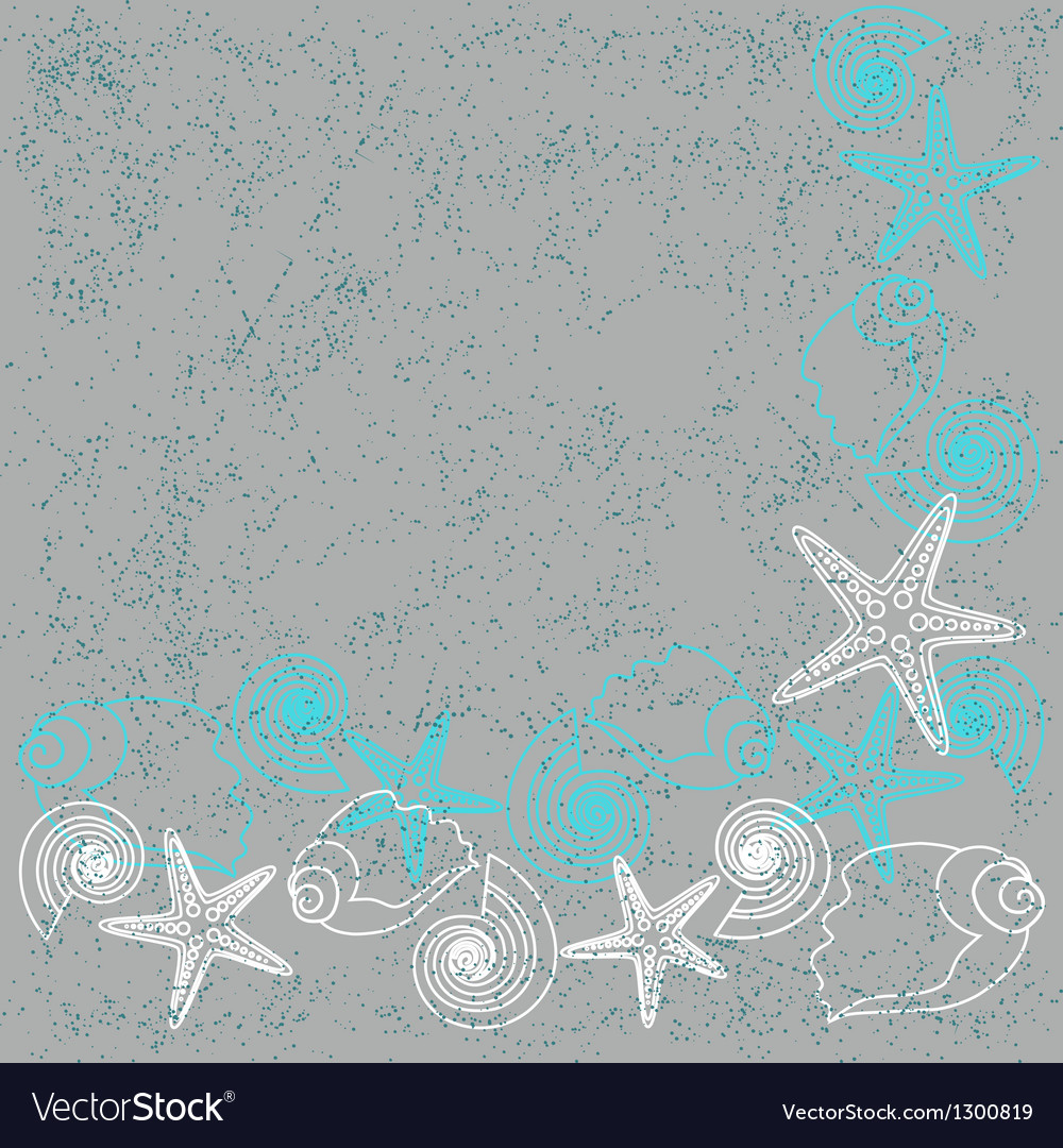 Grunge card with shells and stars vector