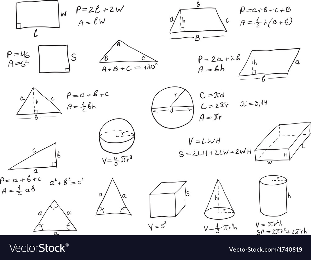 Hand written geometry formulas vector | Price: 1 Credit (USD $1)