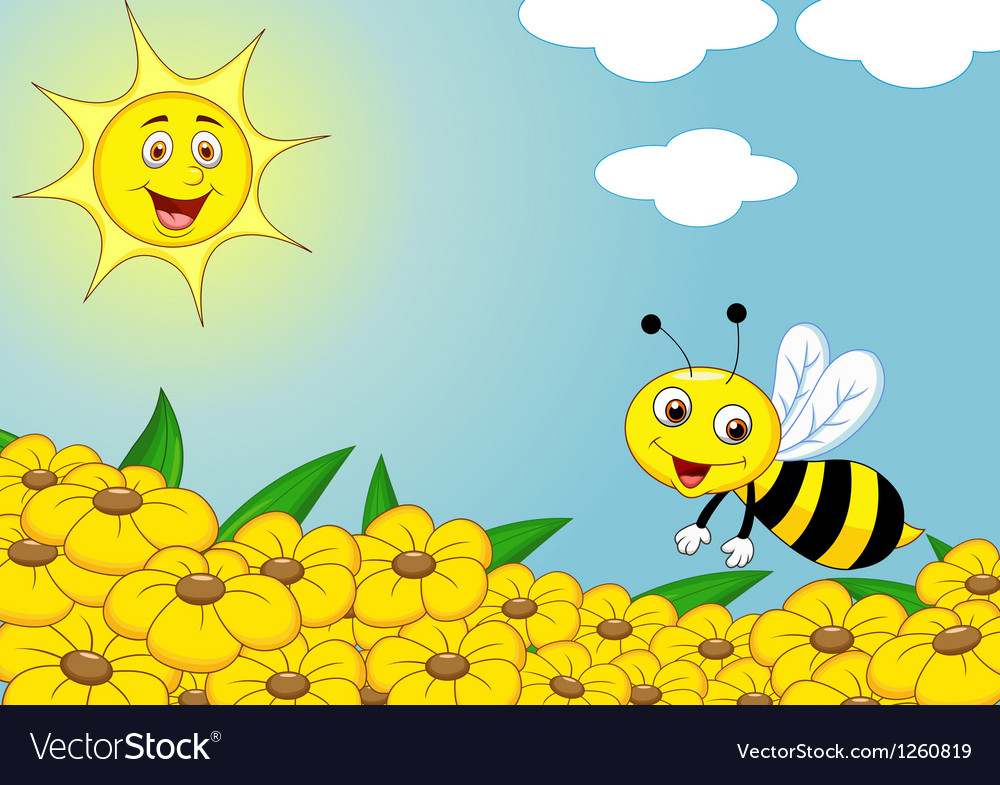 Happy bee cartoon on the flower field vector | Price: 3 Credit (USD $3)
