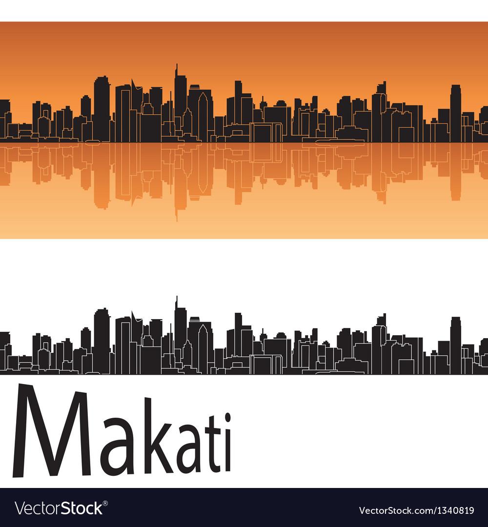 Makati skyline in orange background vector   Price: 1 Credit (USD $1)