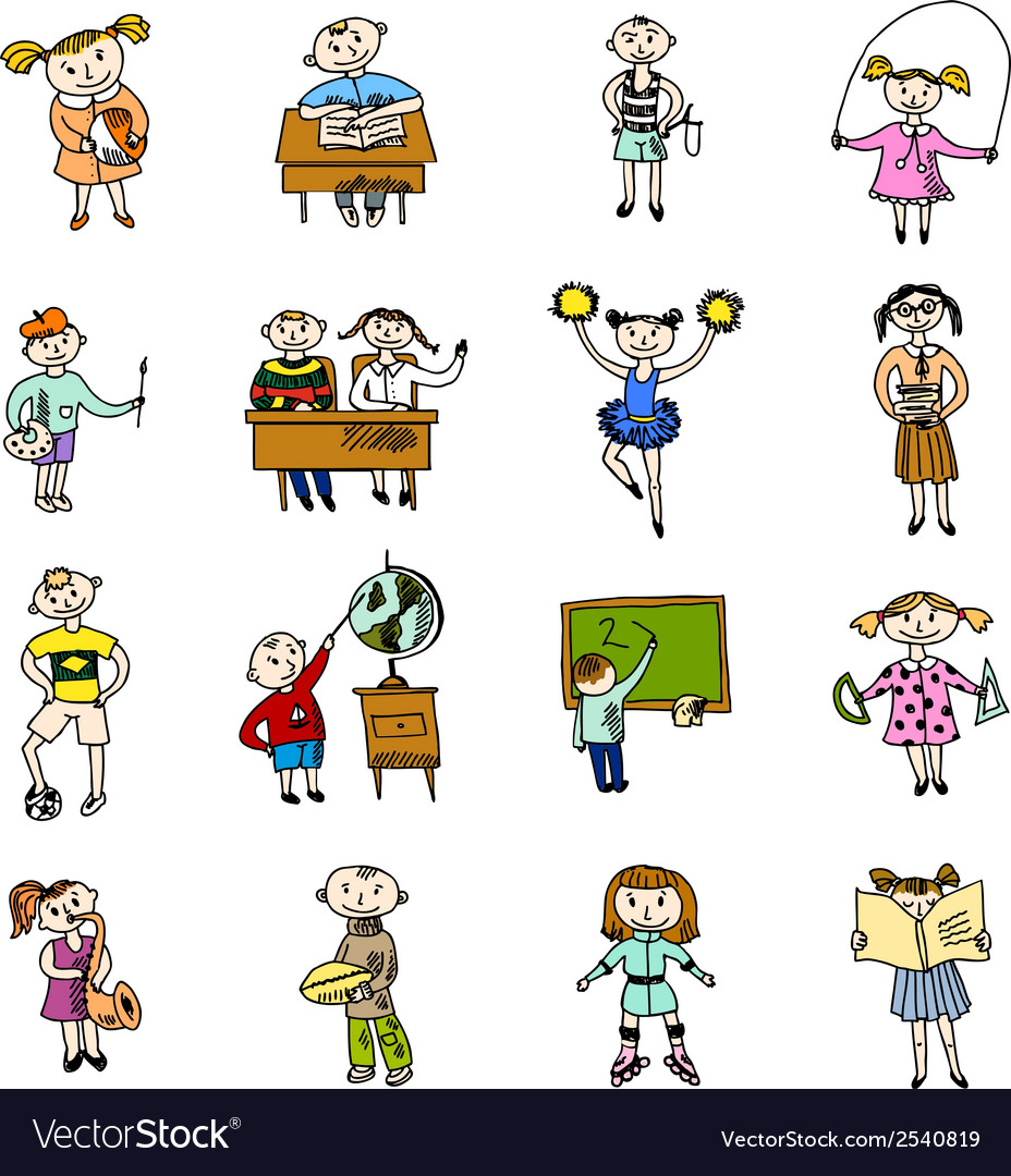 Set of doodle children vector | Price: 1 Credit (USD $1)