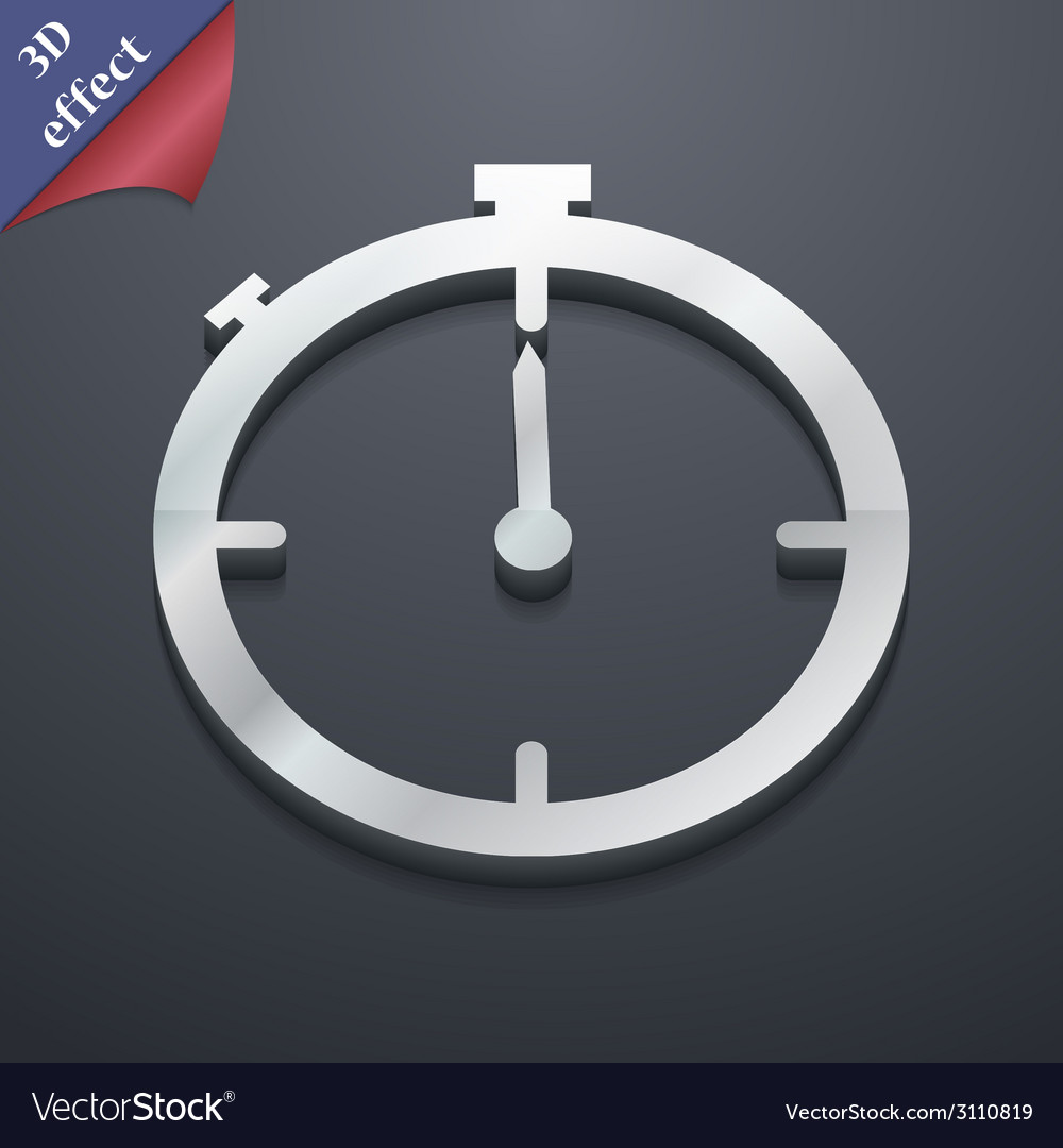 Timer icon symbol 3d style trendy modern design vector | Price: 1 Credit (USD $1)