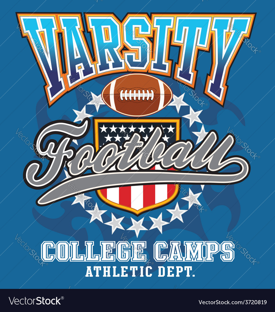 Varsity football college vector | Price: 3 Credit (USD $3)