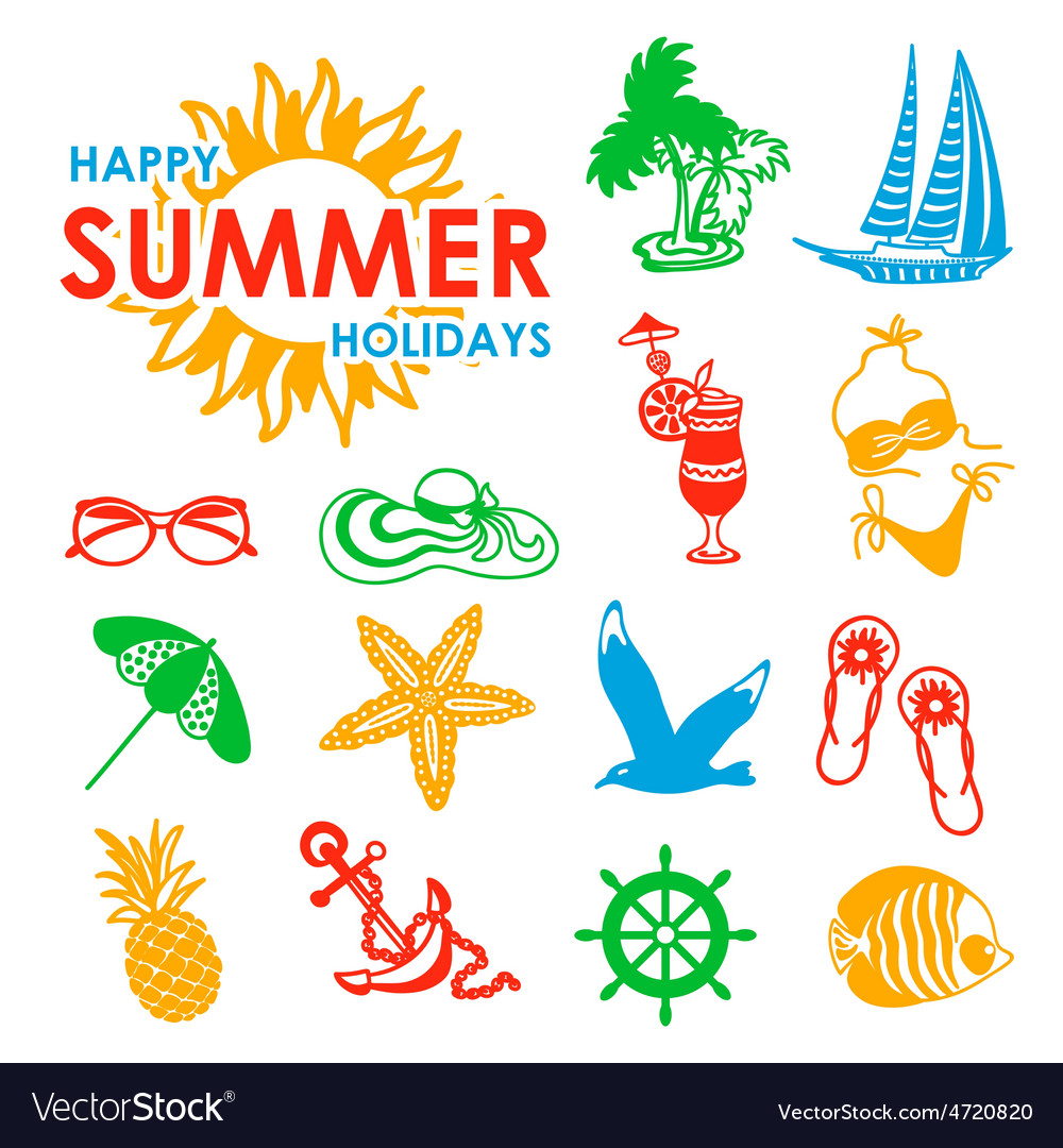 Colorful 15 summer icons vector | Price: 1 Credit (USD $1)