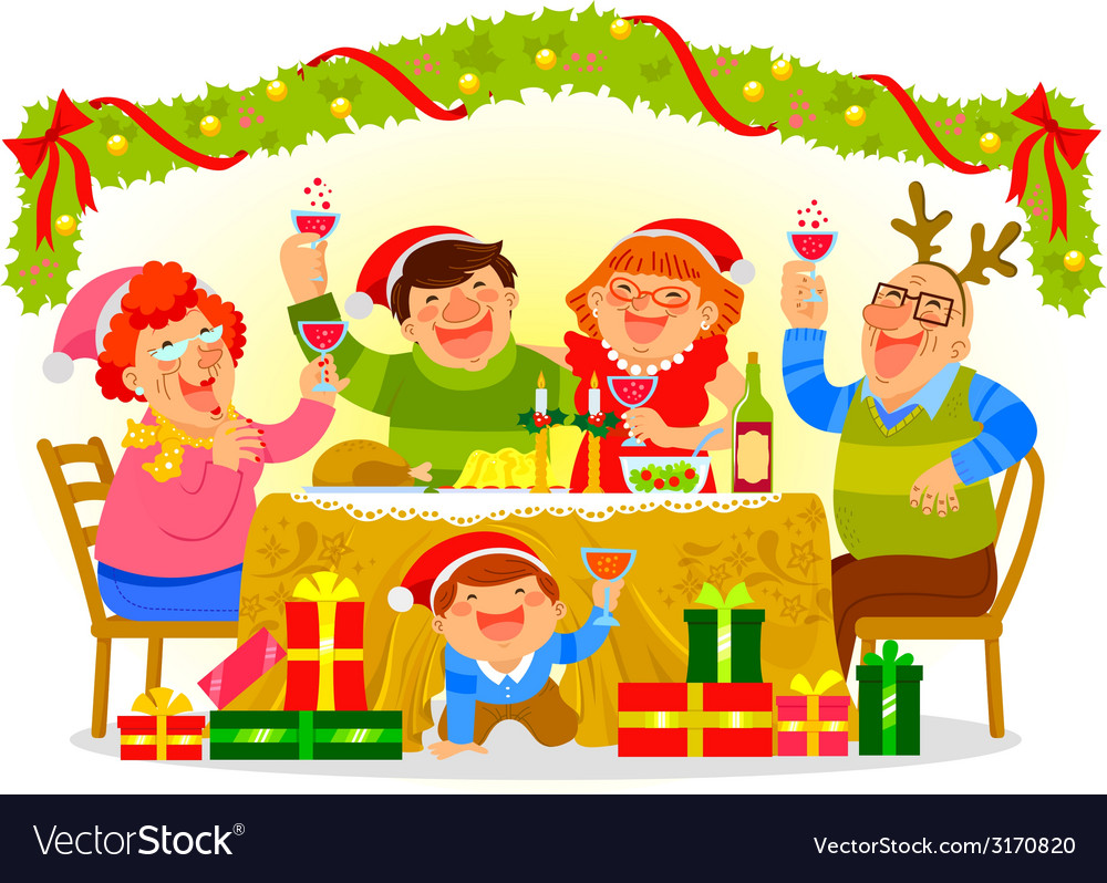 Family celebrating christmas vector | Price: 1 Credit (USD $1)