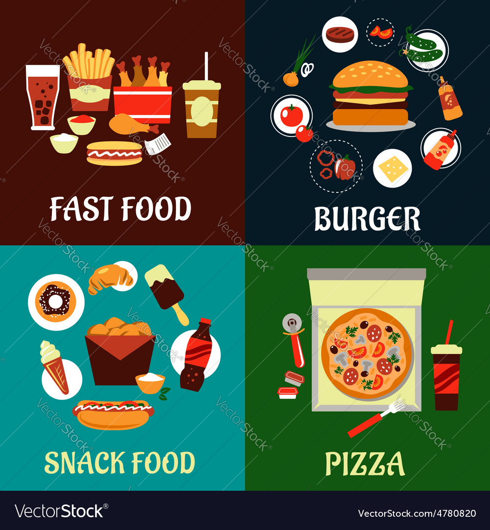 Fast food and takeaway flat icons vector | Price: 1 Credit (USD $1)