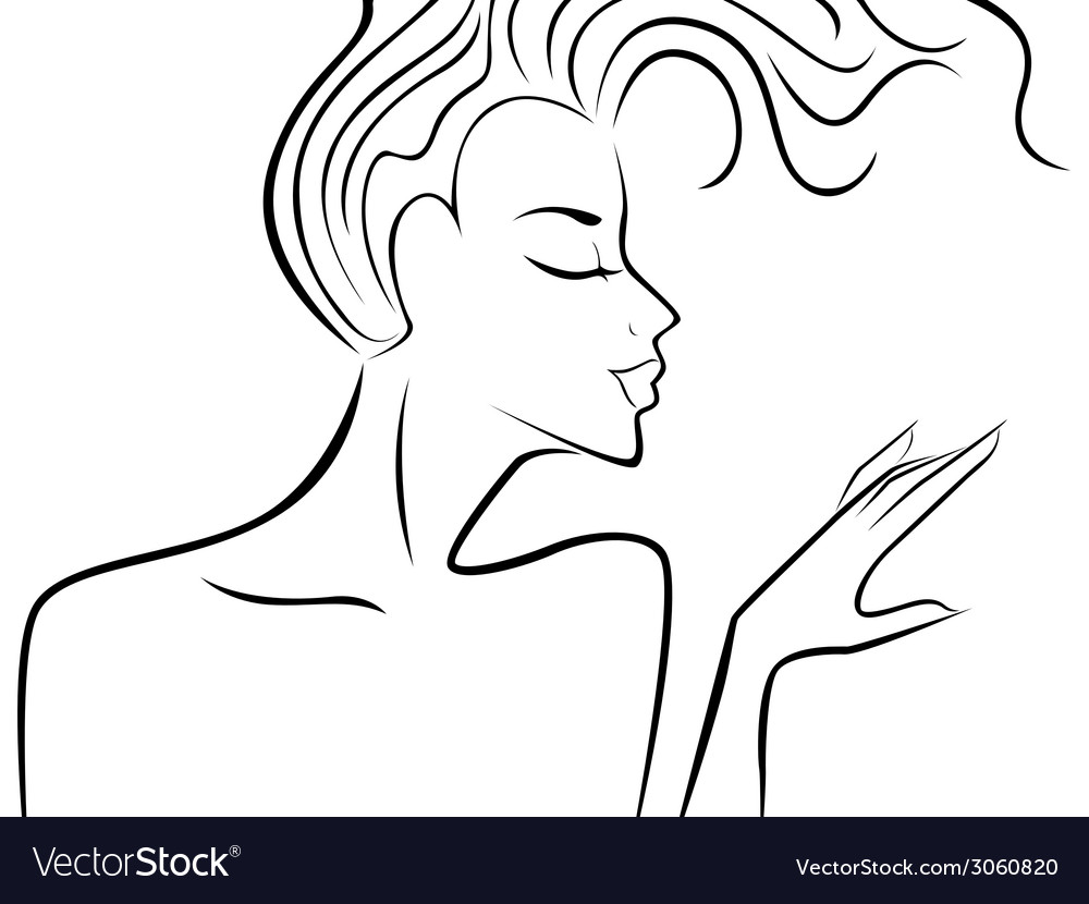 Female silhouette with flowing hair vector | Price: 1 Credit (USD $1)