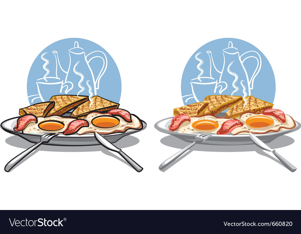 Fried eggs with bacon vector | Price: 3 Credit (USD $3)