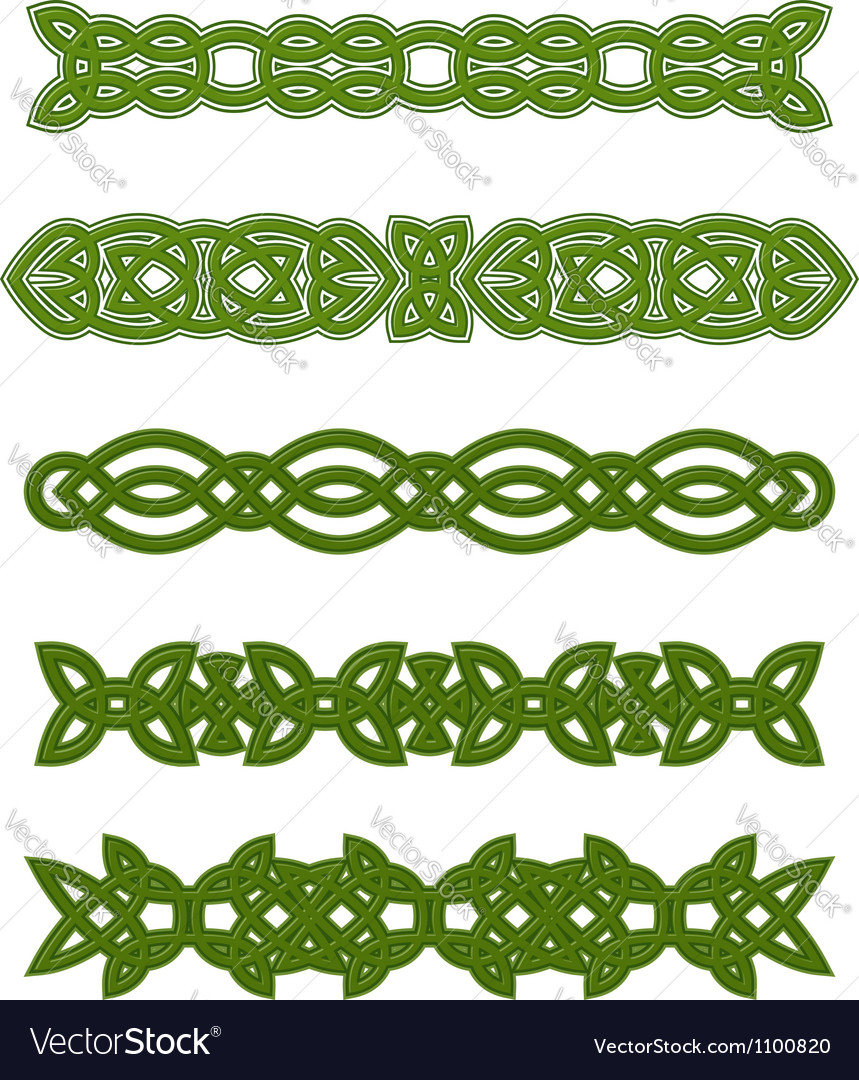 Green celtic ornaments and embellishments vector | Price: 1 Credit (USD $1)
