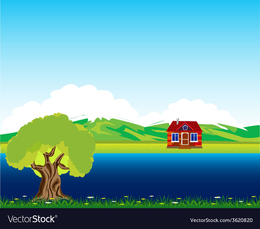 House beside streams vector | Price: 1 Credit (USD $1)