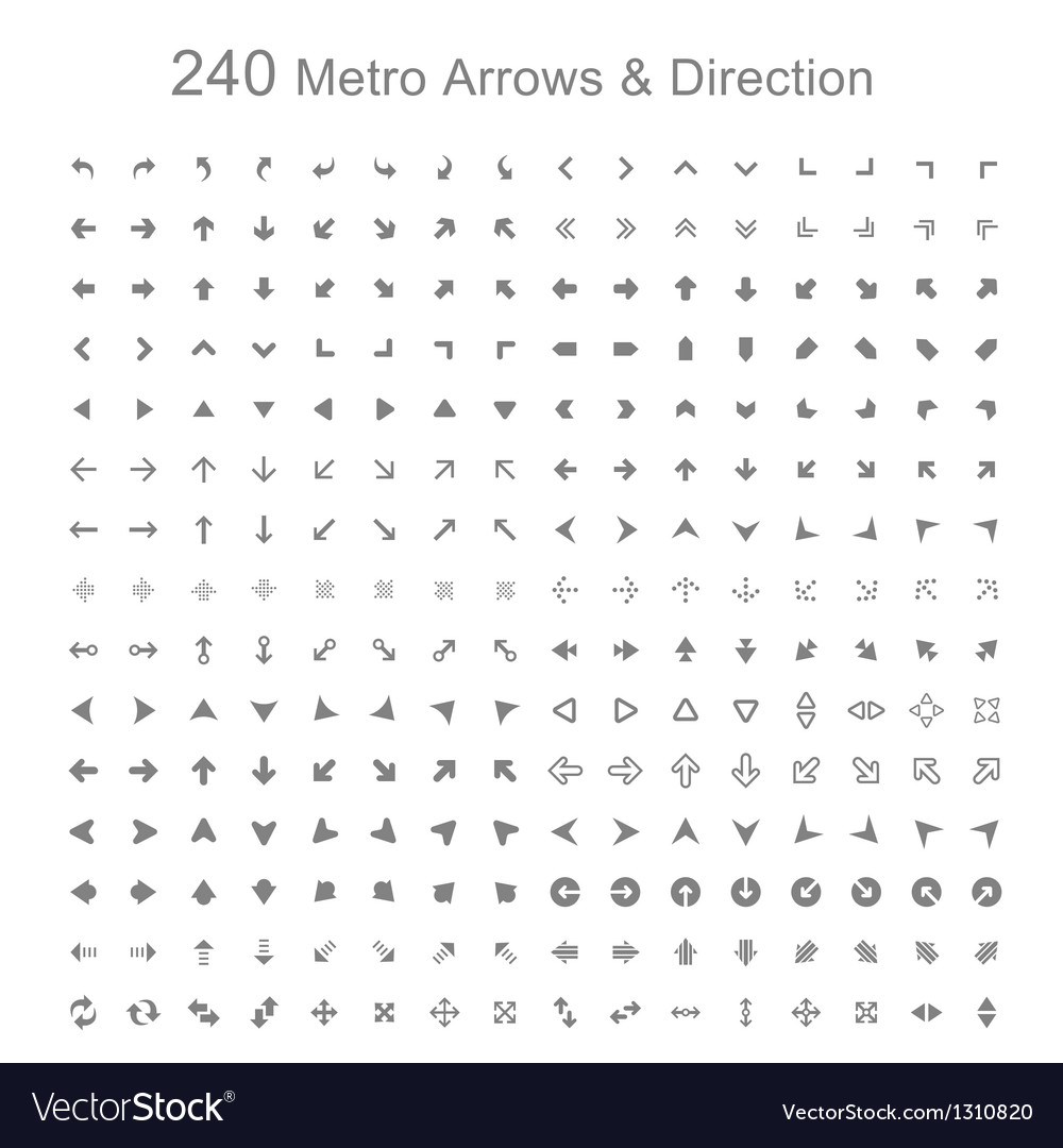 Monotone metro arrows and direction vector | Price: 1 Credit (USD $1)