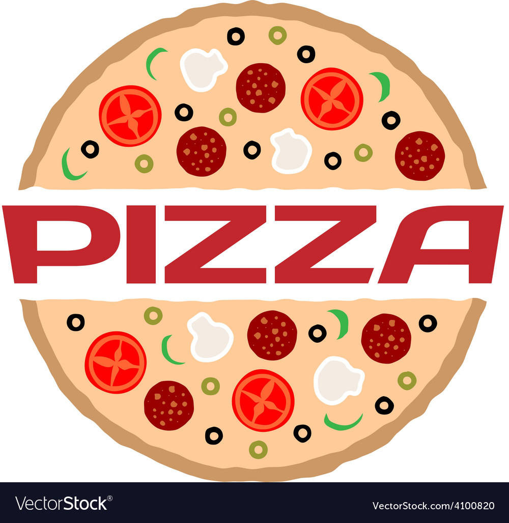 Pizza logo template color sign with text vector | Price: 1 Credit (USD $1)