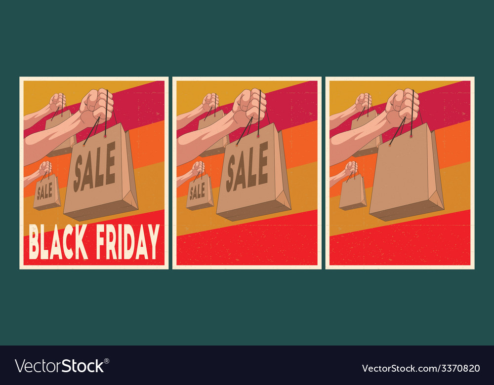 Sale posters set black friday posters vector | Price: 1 Credit (USD $1)