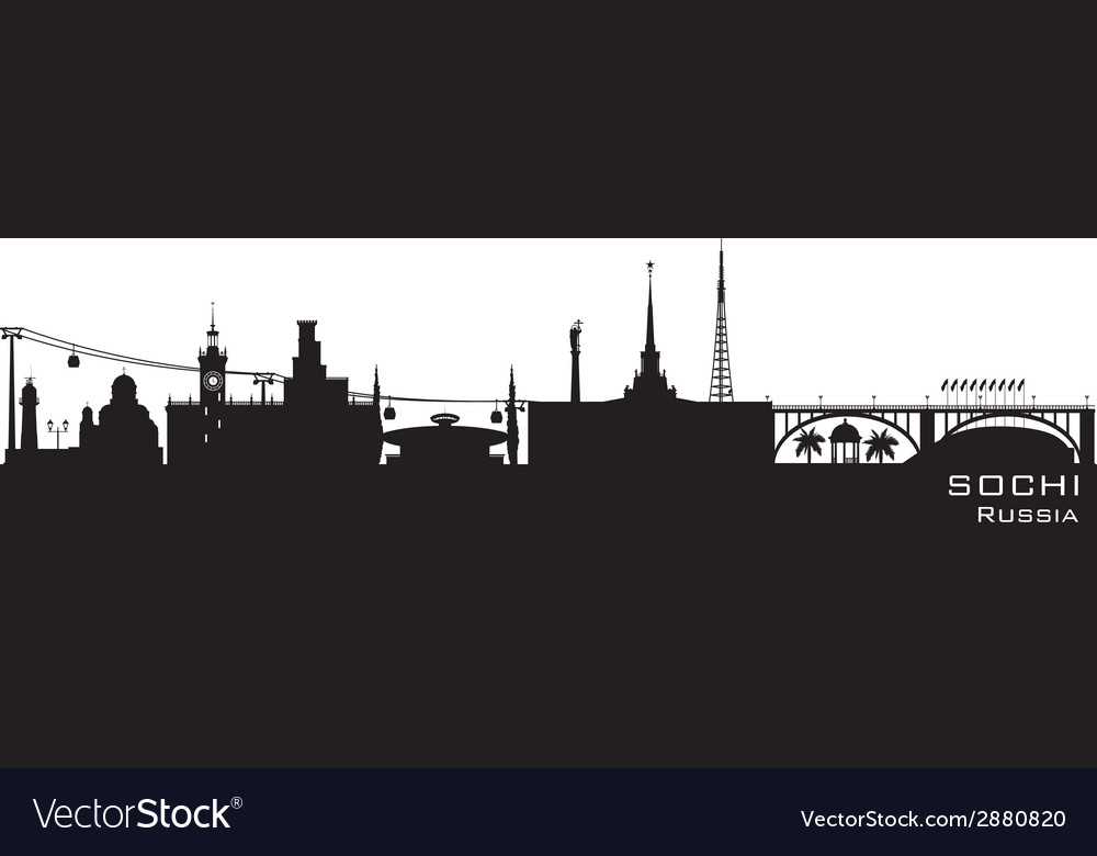 Sochi russia city skyline detailed silhouette vector | Price: 1 Credit (USD $1)
