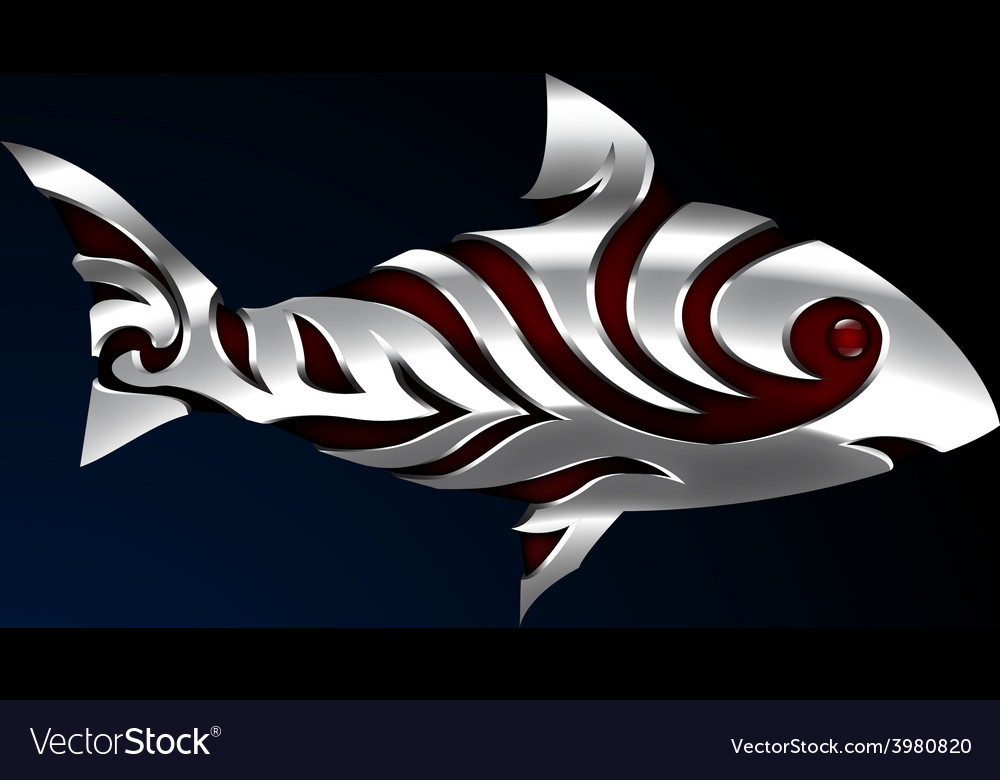 Steel fish with tribal tatoo 01 vector | Price: 1 Credit (USD $1)