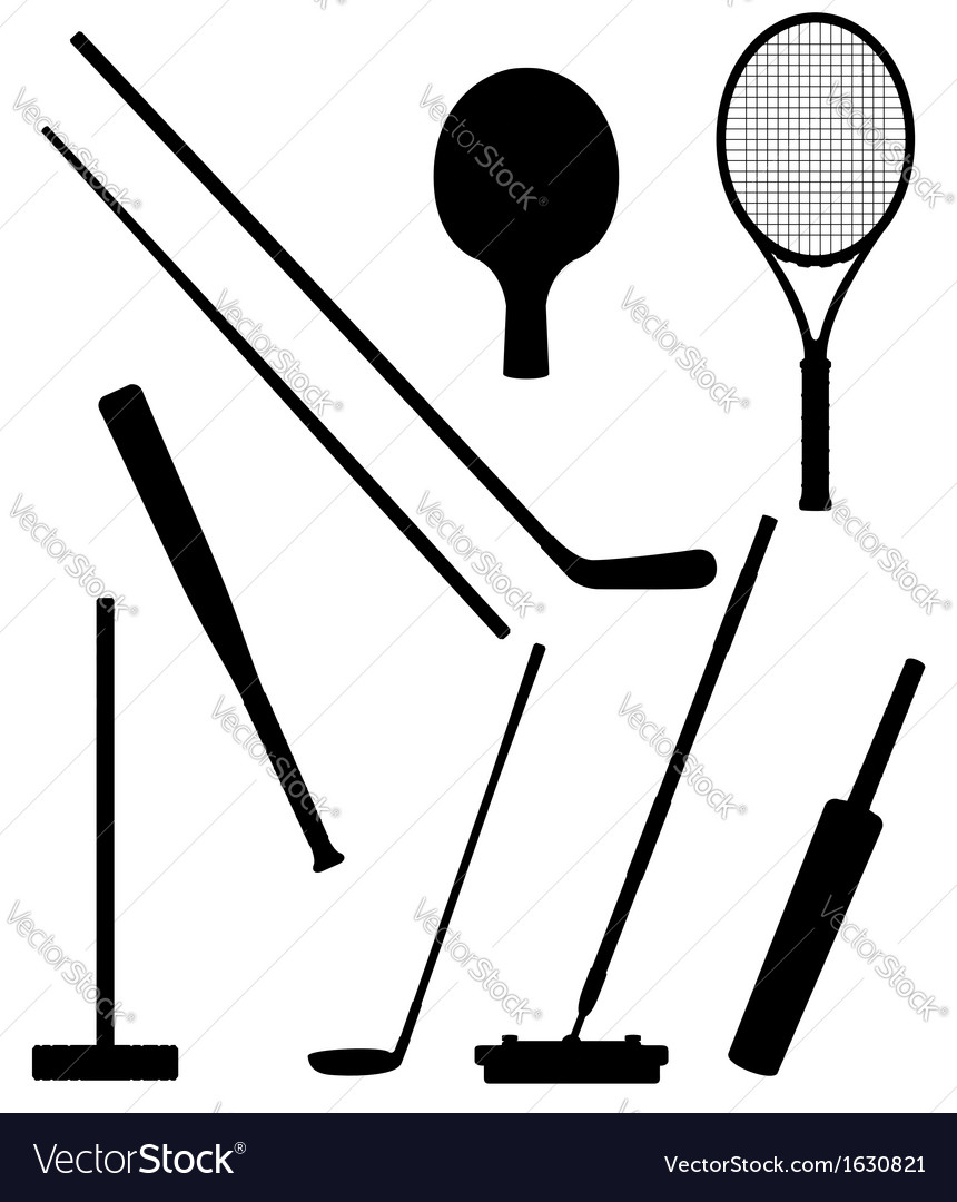 Bits and stick to sports black and white vector | Price: 1 Credit (USD $1)