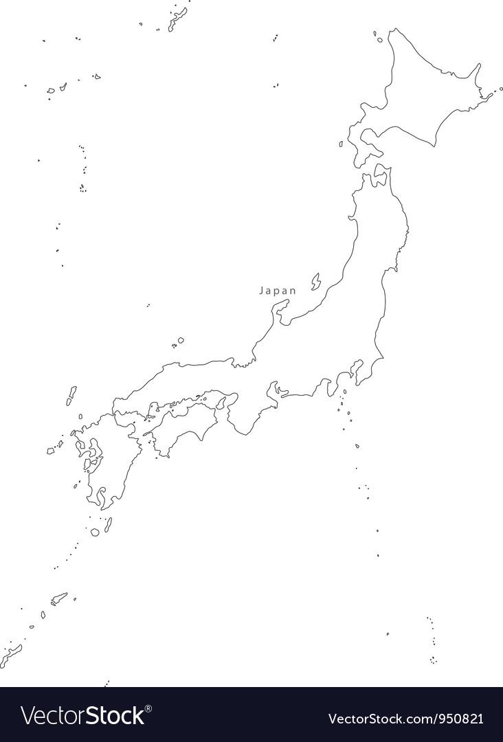 Black white japan outline map vector | Price: 1 Credit (USD $1)