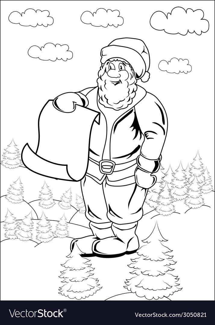 Cartoon santa claus blank list page vector | Price: 1 Credit (USD $1)
