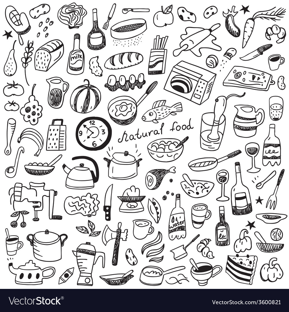 Cookery natural food - doodles collection vector | Price: 1 Credit (USD $1)