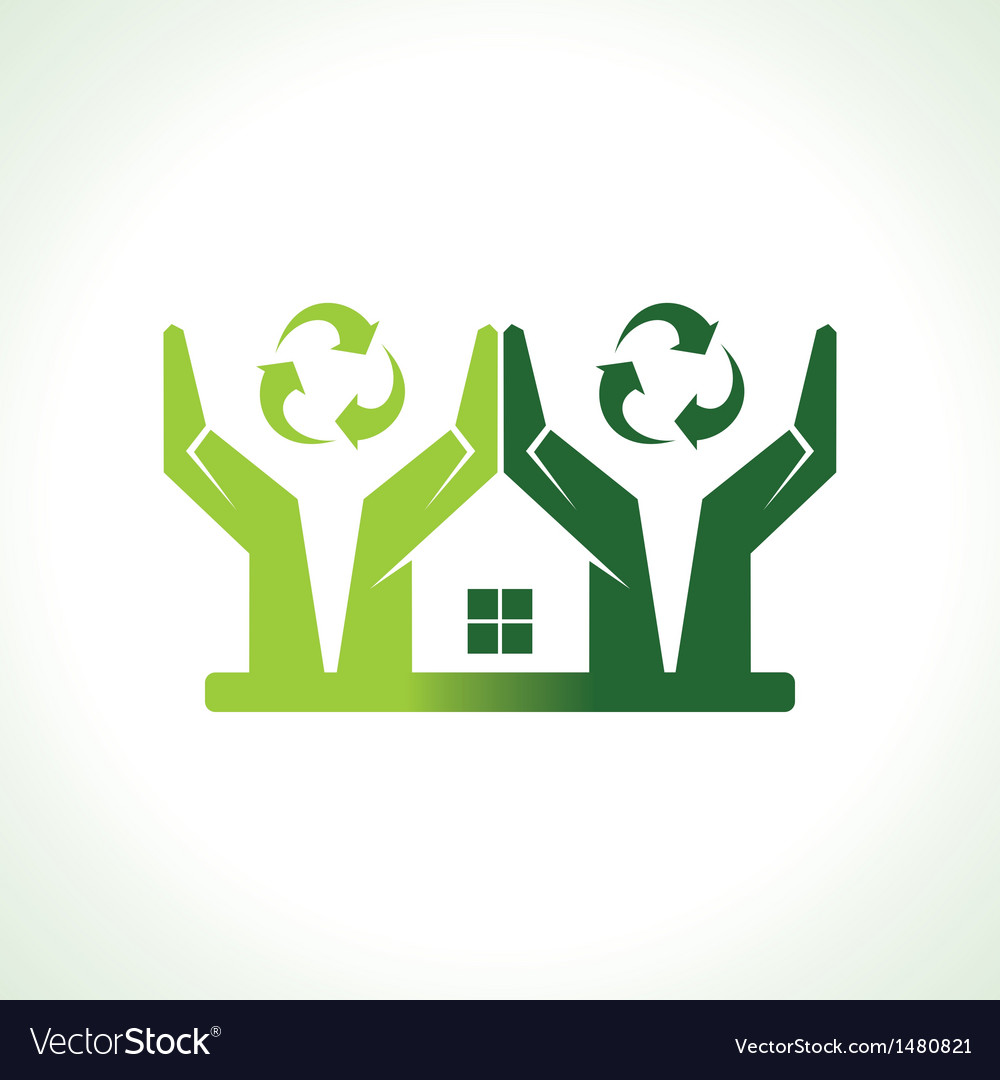 Eco friendly home made by hand protecting nature vector | Price: 1 Credit (USD $1)