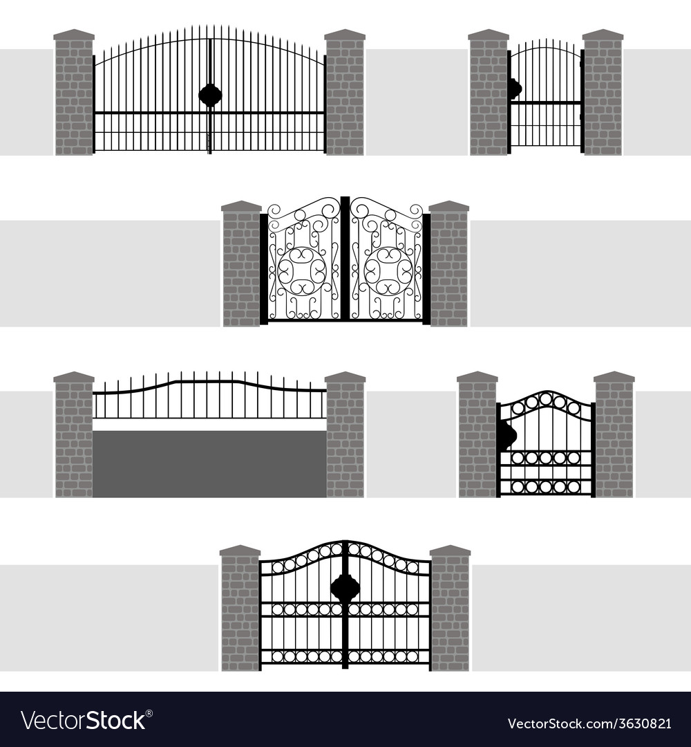 Entrance gate door fence garden vector | Price: 1 Credit (USD $1)