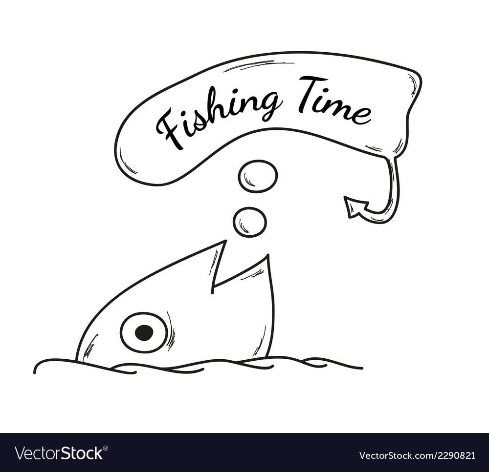 Fish and fishing time vector | Price: 1 Credit (USD $1)