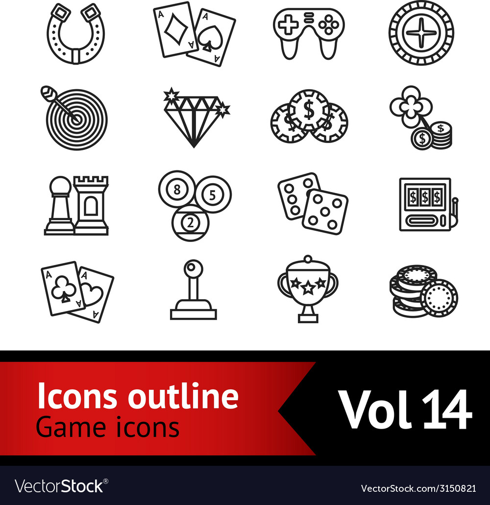Game outline icons set vector | Price: 1 Credit (USD $1)