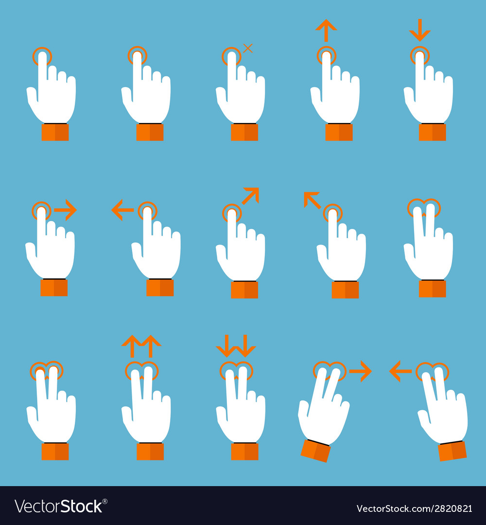 Gesture icons for touch devices vector   Price: 1 Credit (USD $1)