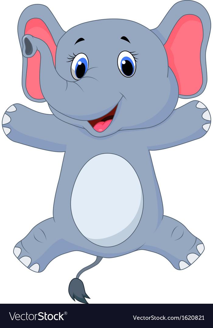 Happy elephant cartoon vector   Price: 1 Credit (USD $1)
