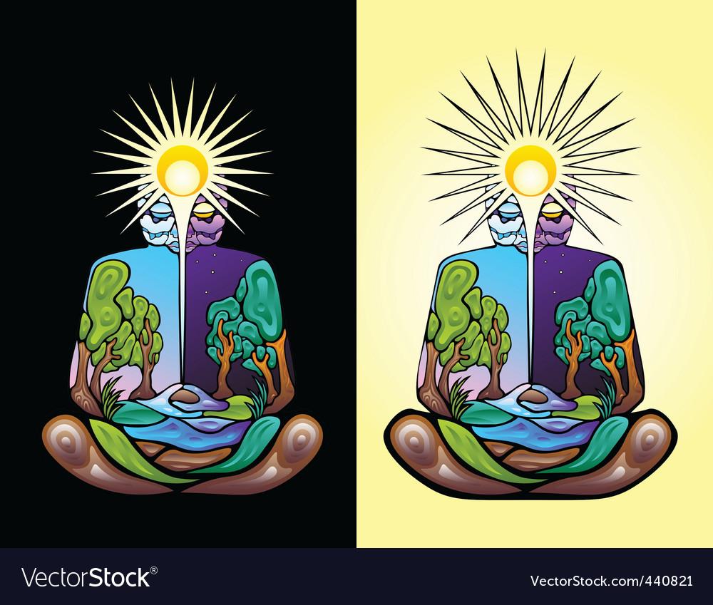 Meditating man vector | Price: 1 Credit (USD $1)