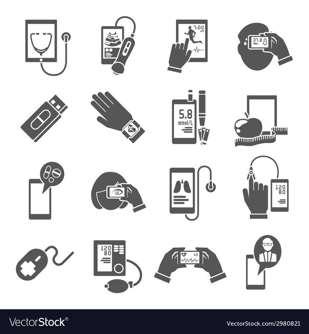 Mobile health icons set black vector | Price: 1 Credit (USD $1)