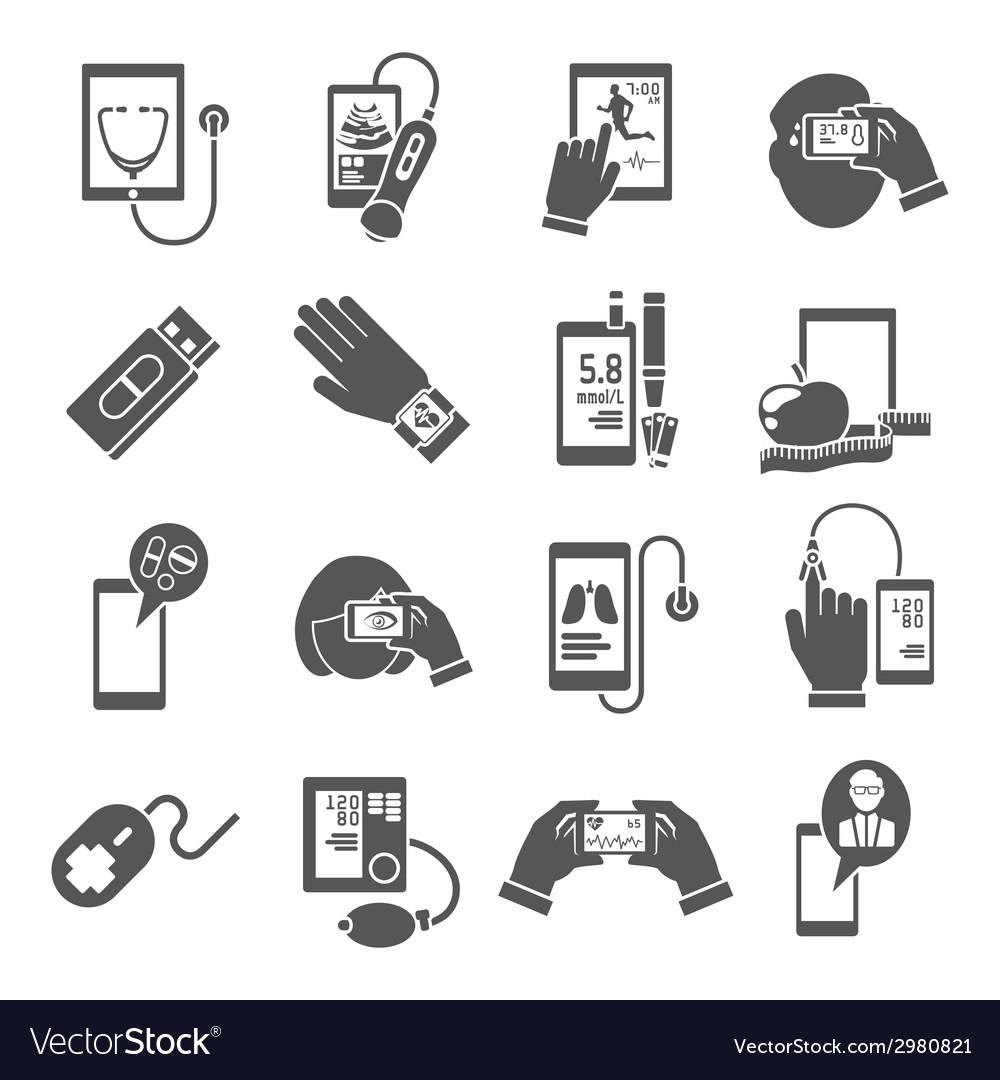 Mobile health icons set black vector | Price: 1 Credit (USD $1)