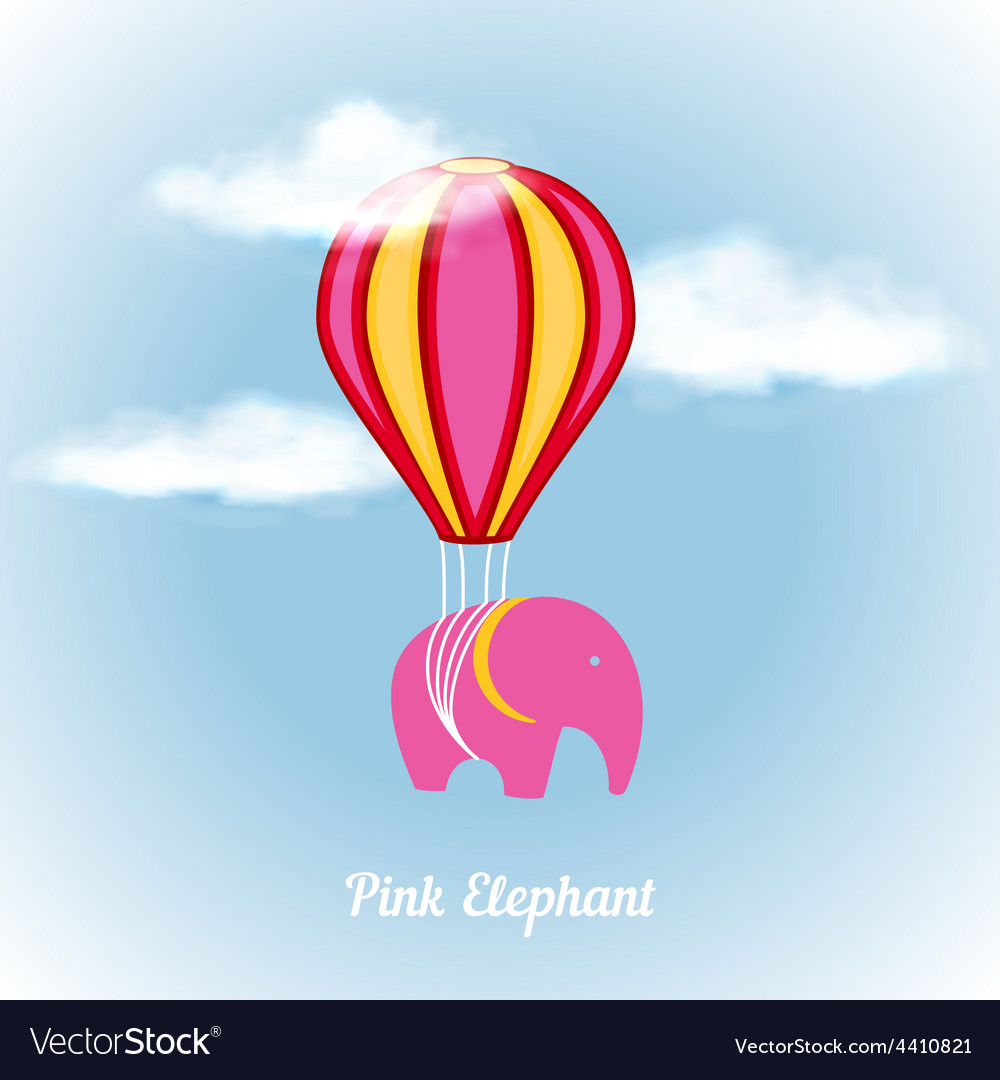 Pink elephant on air vector | Price: 1 Credit (USD $1)