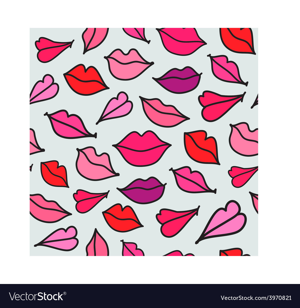 Red hand drawn kisses vector | Price: 1 Credit (USD $1)