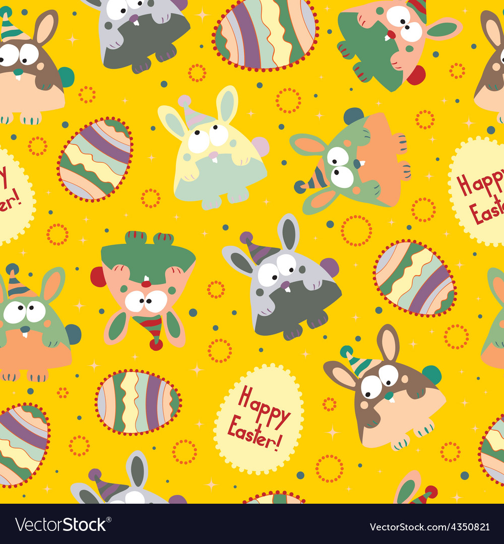 Seamless pattern with easter eggs and bunnies vector | Price: 1 Credit (USD $1)