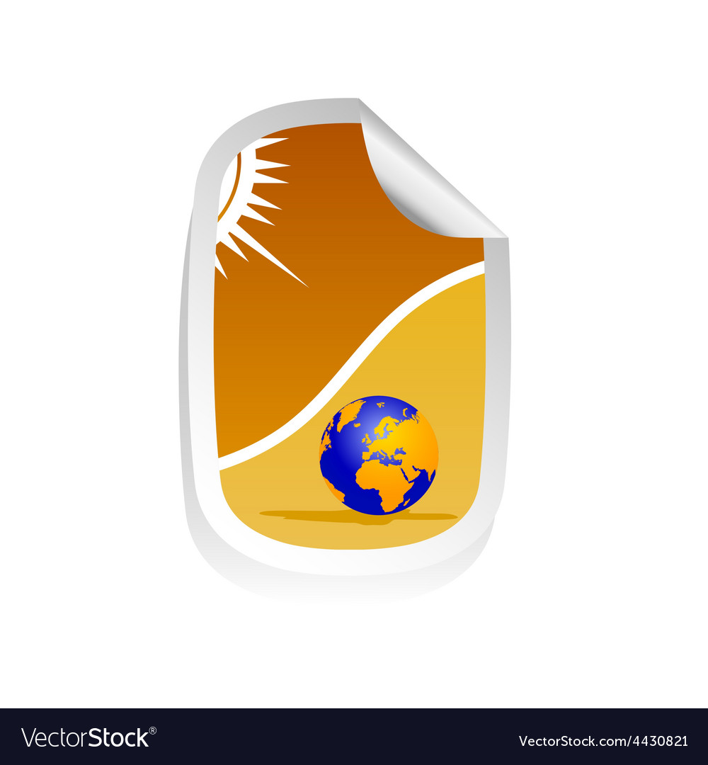 Sticker travel with globe vector   Price: 1 Credit (USD $1)
